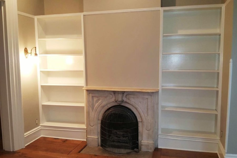 built-in bookshelves painting