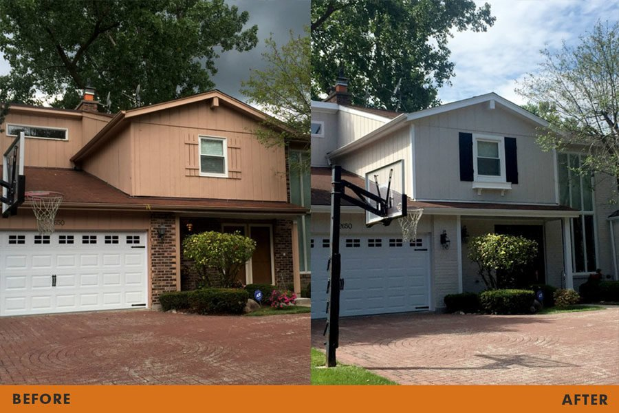 painting before after house