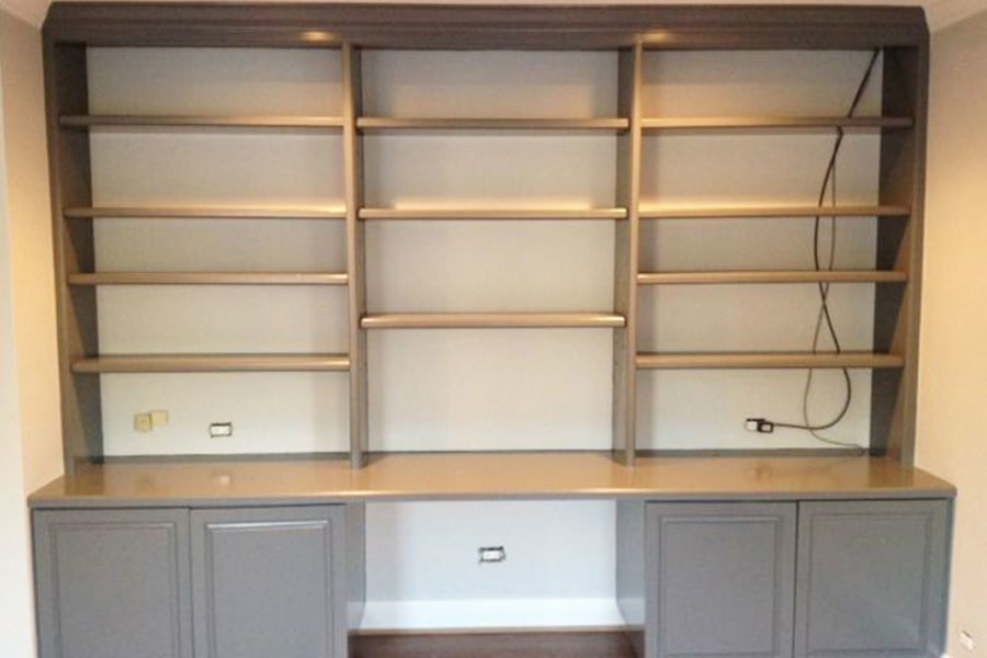 painting built-in shelves
